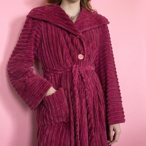 Vintage 1930s striped deep raspberry pink chenill… - image 3