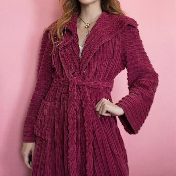 Vintage 1930s striped deep raspberry pink chenill… - image 4