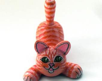 """Wooden toy """"ginger tabby cat""""."""