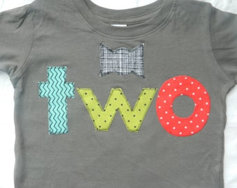 2 Year Old Birthday Shirt Toddler Boy With Bow Tie And Red Teal Green