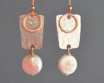 Geometric hammered silver plate earrings & white fresh water pearls