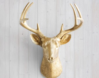 Gold Deer Head By Wall Charmers™ Faux Taxidermy   Faux Deer Head Wall Mount  Gallery Wall Decor Resin Hanging Faux Animal Head Fauxidermy