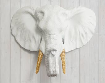 White Faux Elephant Head by Wall Charmers Faux Taxidermy - Faux Animal Resin Wall Mount Fauxidermy - Boho Wall Decor - African Wall Art