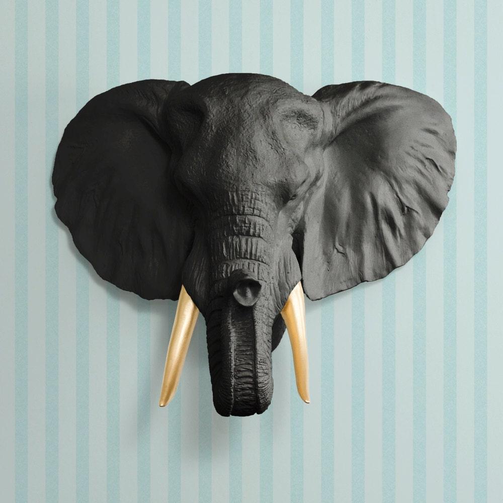 The Savannah in Black Gold Tusk Faux Elephant Head | Etsy