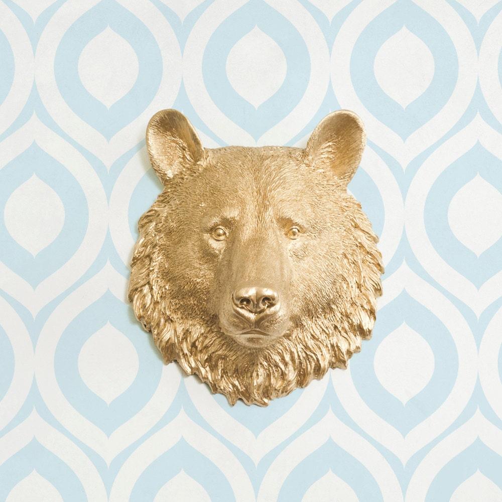 The Kodiak Mini in Gold Faux Bear Head Mounted Fauxidermy