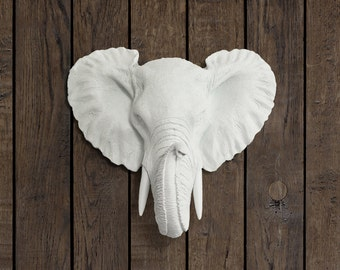 The Savannah (2-Day Shipping)|Faux Elephant Head by Wall Charmers Faux Taxidermy|Ceramic Mounted Fake Animal Head Decor|African Wall Art