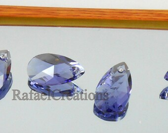 2pc Swarovski Crystal Tanzanite 13mm Teardrop 6000 Pendant; CLEARANCE