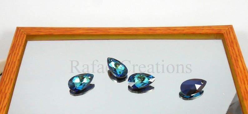 1b6e3df351f2f 2 x Swarovski Pendant Bermuda Blue 6106 Genuine Crystal Pear Teardrop 16 22  mm Necklace Findings Loose Bead Earring findings Deep Blue
