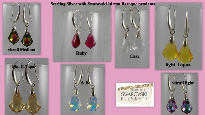 84bbc3b8b7850 Sterling Silver Earrings Swarovski crystals plated Pure (99.9) Ear wire 16  mm Baroque Moon style fine Jewelry For women bridal Gift