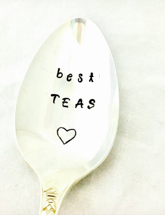 Vintage Hand Stamed Spoon for Coffee or Tea Friends Become Our Chosen Family Gift for Friend