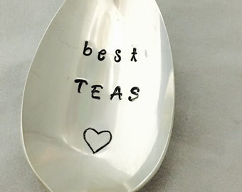 Best Teas, Best Friend, Besties Gift, Hand Stamped Vintage Silverware Spoon, Gift For Friend