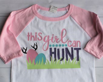 0a8e3d09 Toddler / Youth Girls Easter This Girl Can Hunt Shirt
