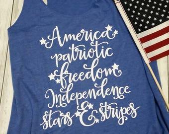 Patriotic Tank Top. MERICA Tank Top. 4th Of July Tank. Fourth of July Shirt. America. Summer Tank. Star Spangled Hammer. 1776 Shirt. Flag