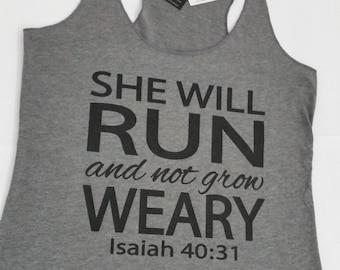 She Will Run and Not Grow Weary Workout Tank Top. Running Tank. Joshua 40. Fitness Tank. Inspirational Shirt. Faith. Christian Tank. Strong