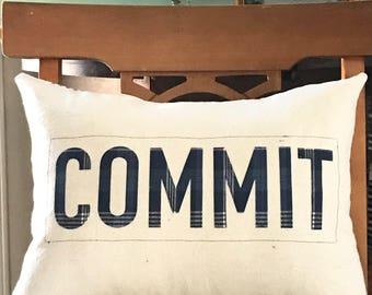Custom Word Pillow, Positive pillow, Christian pillow, farmhouse pillow, ticking stripe pillow