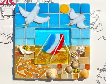 Seagulls glass art, deckchair beach art, beach life mosaic, seaside wall decor, chips on beach art, summer beach art, glass wall art, mosaic