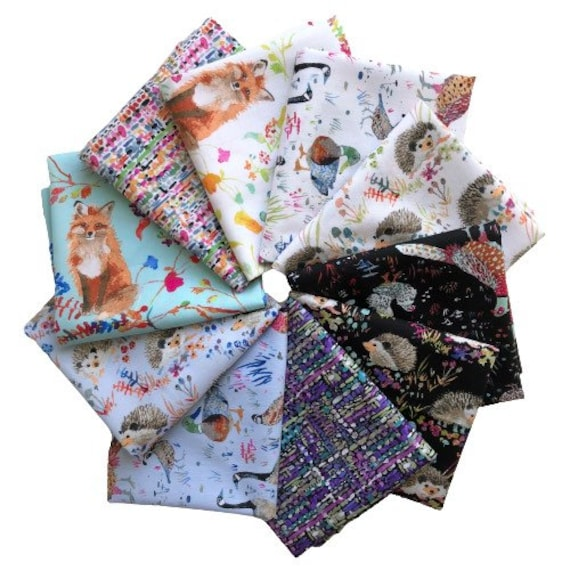 Fat quarter bundle of 10 various fabrics of Fox Wood by Betsy Olmsted for Windham Fabrics