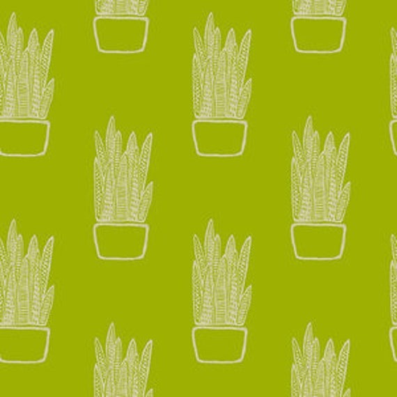 Tiger Plant by Sarah Golden for Andover Fabrics - Snake Plant in Chartreuse -- Cotton/Linen - Fat Quarter