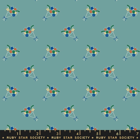 Food Group Bouquet in Ocean (RS5041 14) by Ruby Star Society -- Fat Quarter