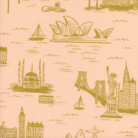 Fat quarter City Toile LAWN in Peach Metallic of Les Fleurs by Rifle Paper Company for Cotton and Steel