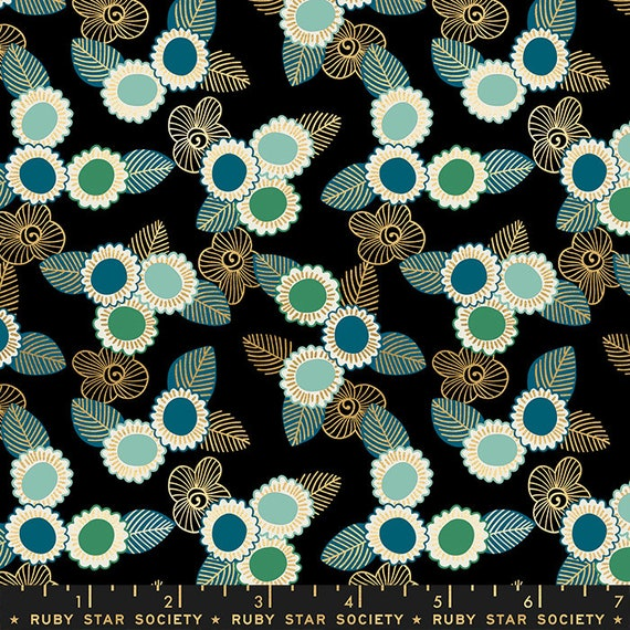 Purl by Sarah Watts -- Embroidered Floral in Black (RS203615M) by Ruby Star Society for Moda -- Fat Quarter