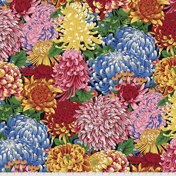 Kaffe Fassett Collective August 2021 -- Fat Quarter of Philip Jacobs Hokusai's Mums in Natural