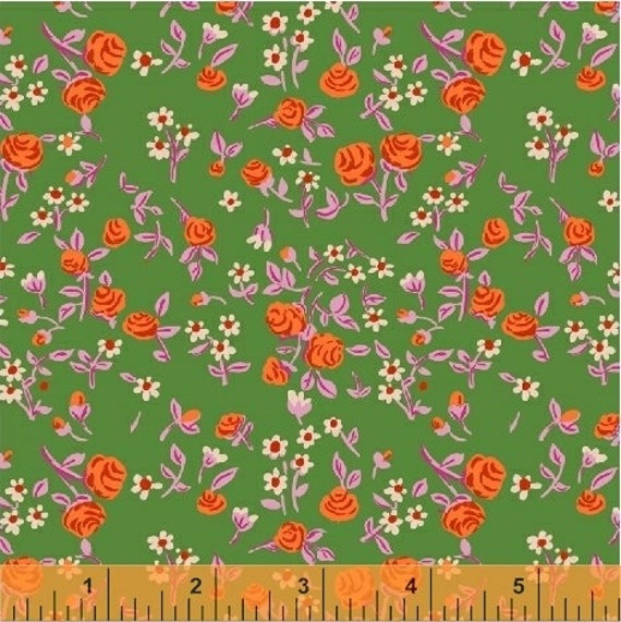 Heather Ross Trixie for Windham Fabrics - Fat Quarter Floral in Kelly