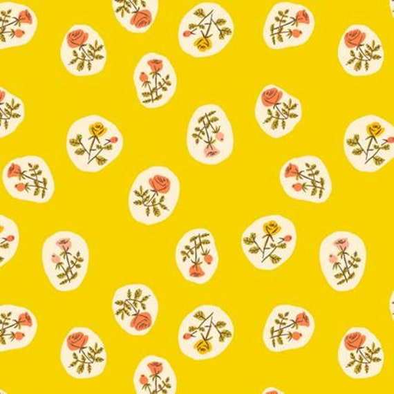 Heather Ross Tiger Lily for Windham Fabrics - Small Roses in Yellow
