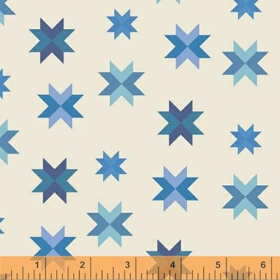 Daisy Chain by Annabel Wrigley for Windham Fabrics - Multi Stars in Royal