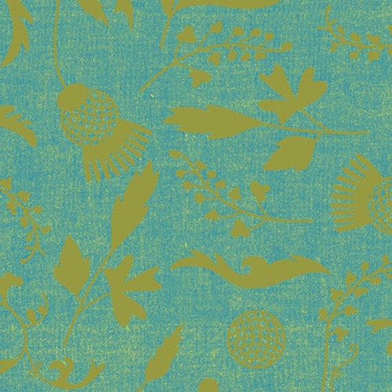 Ex Libris by Alison Glass Printed Chambray in Soft Green