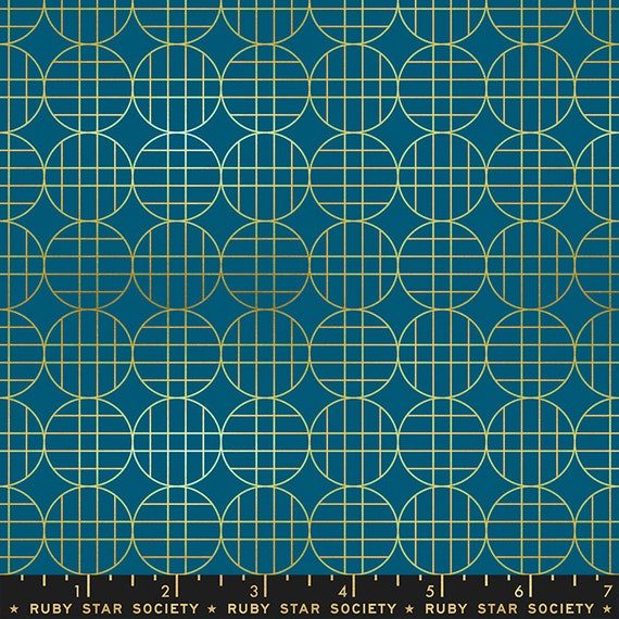 Stellar -- Ruby Star Society Fabric, RS1010-13M  Moon Grid in Metallic Blue by Rashida Coleman Hale-- Fat Quarter
