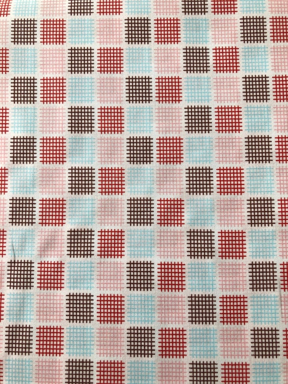 Japanese cotton fat quarter by Kei - Geostyle tiny checks in red, chocolate, aqua and pink on white