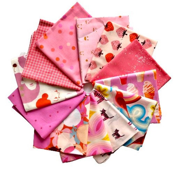 Fat Quarter Bundle of Ruby Star Society Fabrics in Hot Pinks — 12 in total