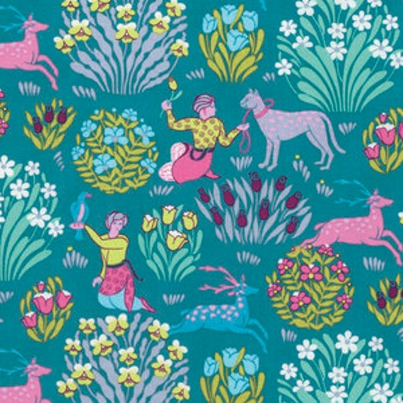 Amy Butler Splendor -- Fat Quarter of Forest Friends in River