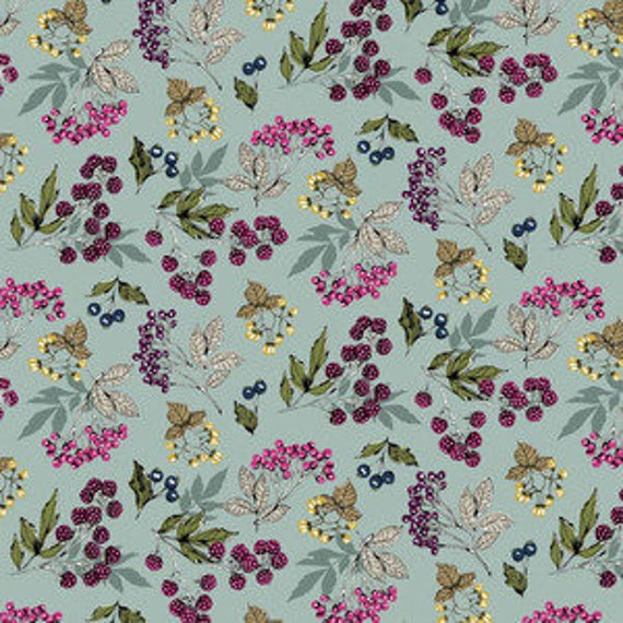 Botanica by Makower for Andover Fabrics - Forest Fruits in Blue - Fat Quarter