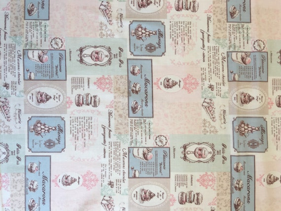 Japanese cotton fat quarter by Yuwa - Macaron Recipes in pink and blue
