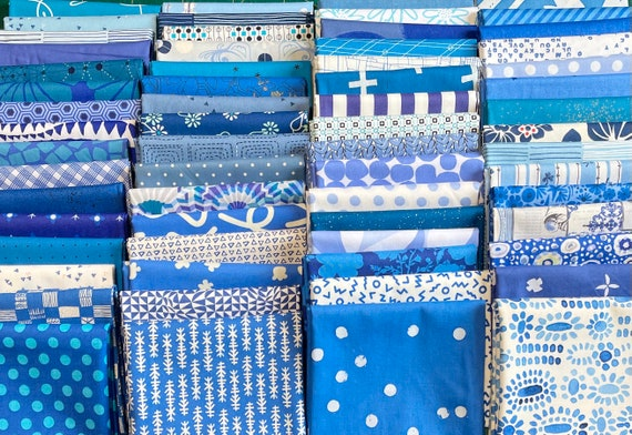Fat 16th of various Delft inspired fabrics as shown in photo (64 in total)