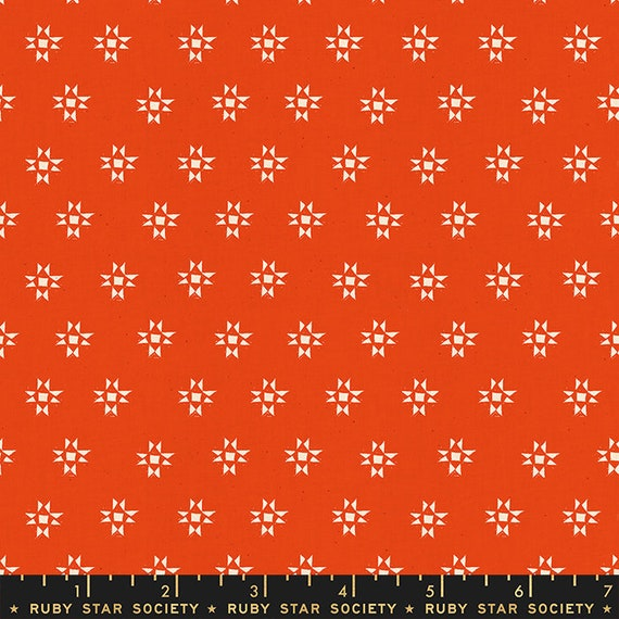 Heirloom Star Shine in Warm Red (RS4025 14) by Alexia Marcelle Abegg for Ruby Star Society -- Fat Quarter
