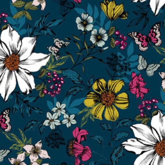 Botanica by Makower for Andover Fabrics -Botanica Exotic in Floral Blue - Fat Quarter