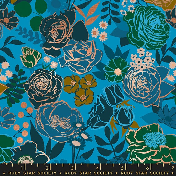 Rise Grow in Bright Blue RS0012 14M by Melody Miller - Ruby Star Society - Fat Quarter