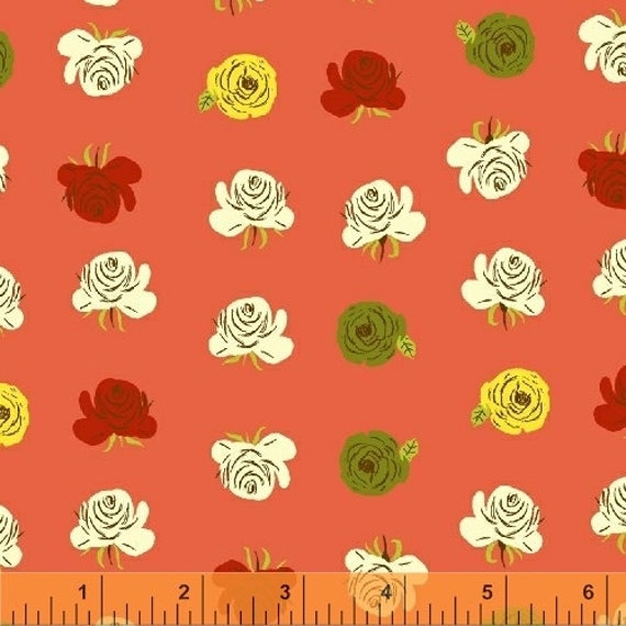 Heather Ross Far Far Away 2 for Windham Fabrics - Fat Quarter of Floral in Coral