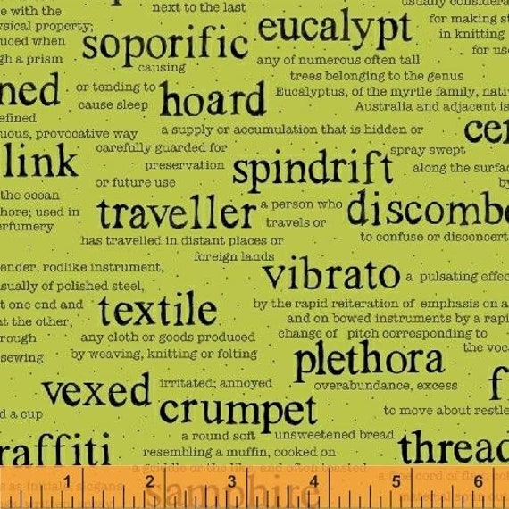 Wordplay by Sarah Fielke for Windham Fabrics - Vocabulary in Green - Fat Quarter