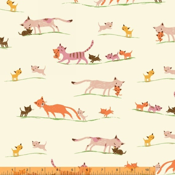 LAWN Heather Ross Tiger Lily for Windham Fabrics - Marching Cats in Cream LAWN Wider Width
