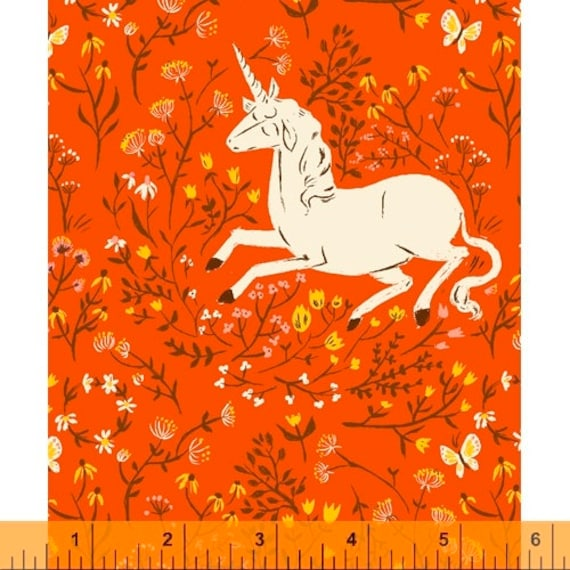 Heather Ross 20th Anniversary Collection for Windham Fabrics - Fat Quarter of Unicorn in Orange