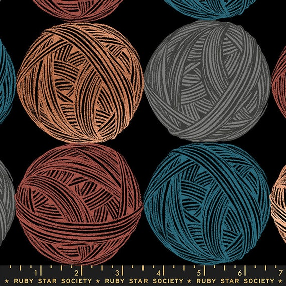 Purl Linen/Canvas in Black (RS2039 17LM) by Sarah Watts - Ruby Star Society - 25cm Increment Cut