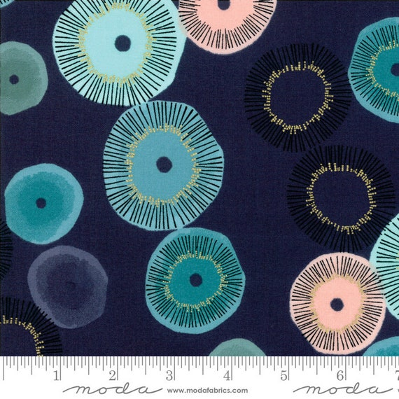 Day in Paris. -- Metallic Navy in Blooming (1680 18M) by Zen Chic for Moda -- Fat Quarter