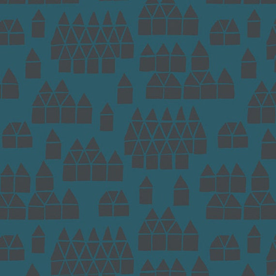 Maker Maker by Sarah Golden for Andover Fabrics - Village in Blue -- Cotton/Linen - Fat Quarter