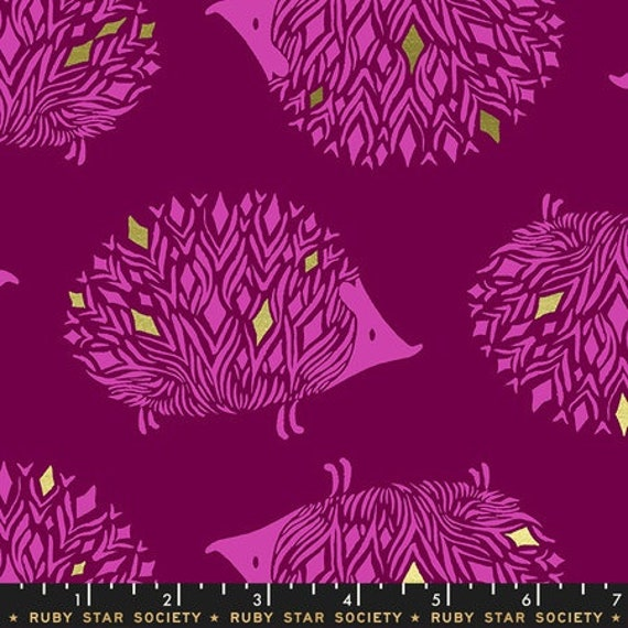 Darlings -- Hedgehogs in Metallic Purple Velvet (RS5017-11M) by Ruby Star Society for Moda -- Fat Quarter
