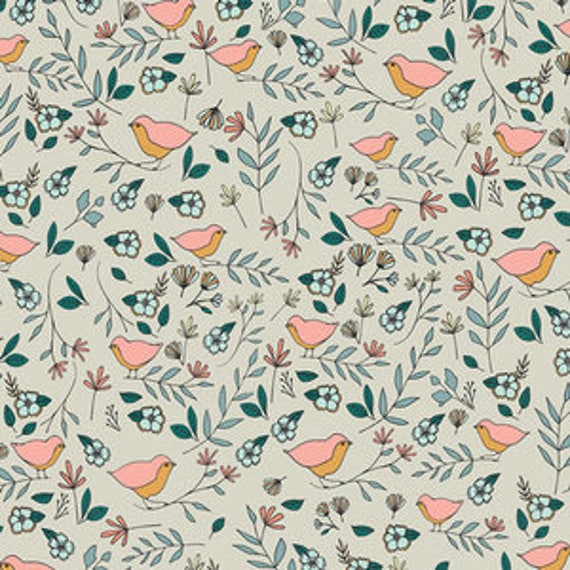 Love Story by Maureen Cracknell for Art Gallery Fabrics - Lovebirds in Celeste