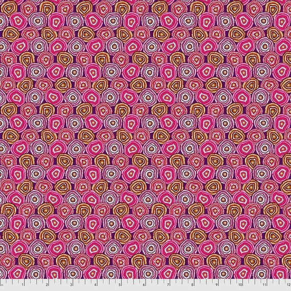 Magi Country by Odile Bailloeul for Free Spirit Fabrics - Fat quarter of Mini Geodes in Plum